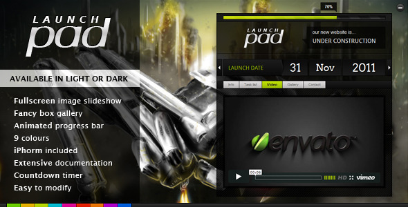 ThemeForest Launch Pad Full Screen Image Under Construction 473421