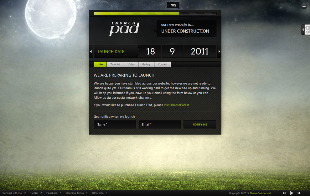Launch Pad - Full Screen Image Under Construction - Lime colour scheme, default settings