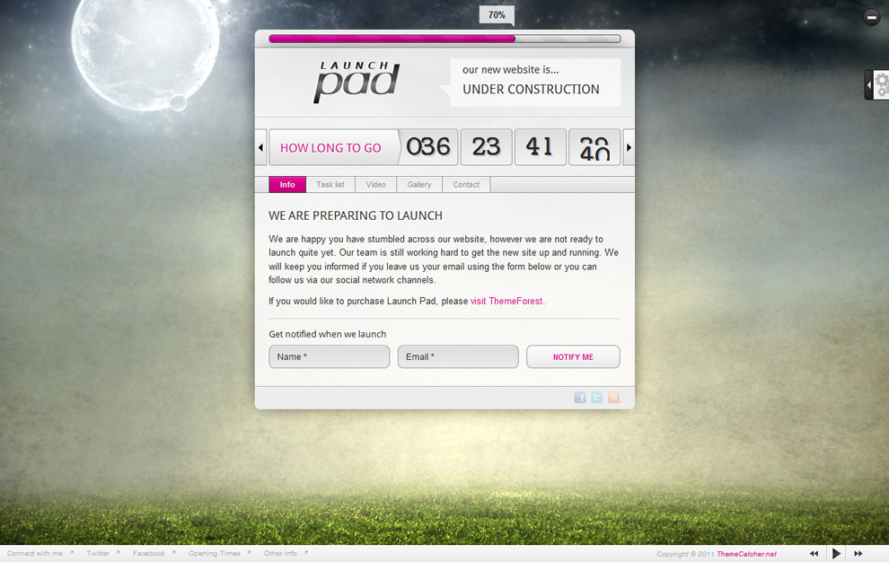 Launch Pad - Full Screen Image Under Construction - Pink colour scheme, rounded corners, footer visible, light skin
