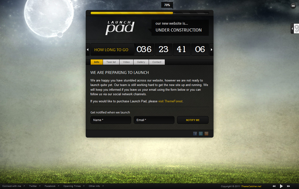 Launch Pad - Full Screen Image Under Construction - Gold colour scheme, rounded corners, footer visible