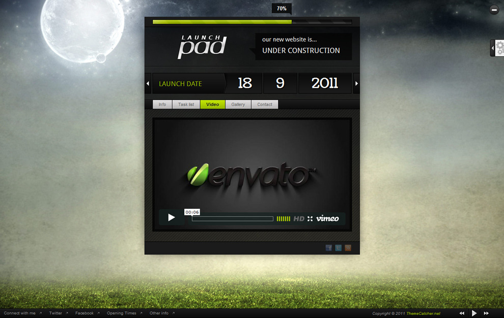 Launch Pad - Full Screen Image Under Construction - Lime colour scheme, video page