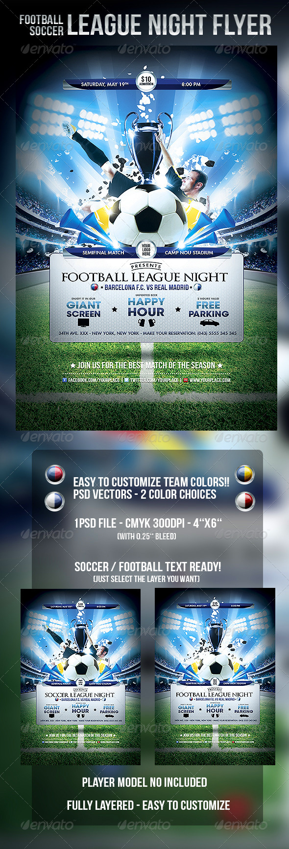 Football Soccer League Night Flyer Template - Clubs & Parties Events