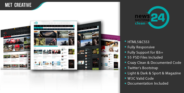 ThemeForest NEWS24 4 in 1 Responsive News Magazine Theme 4518104