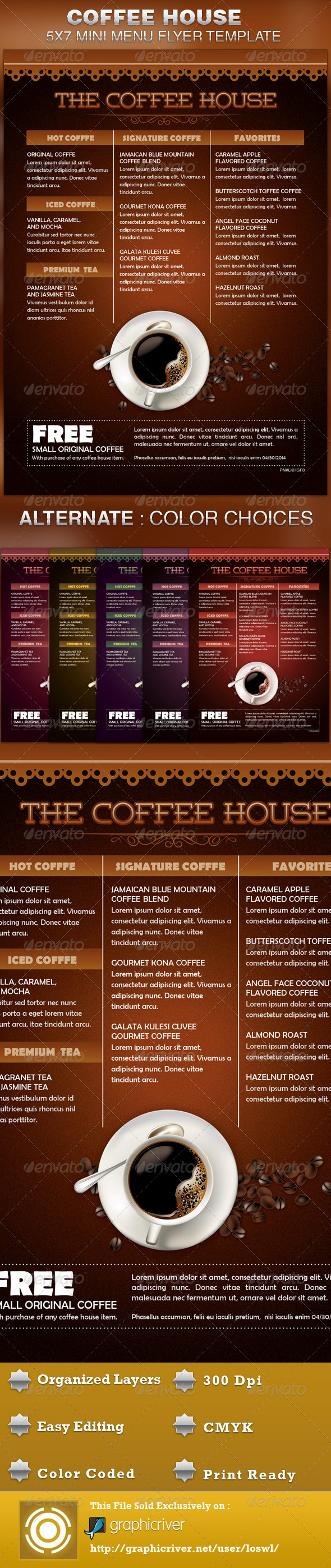 Coffee House Mini Menu Flyer Template - Restaurant Flyers