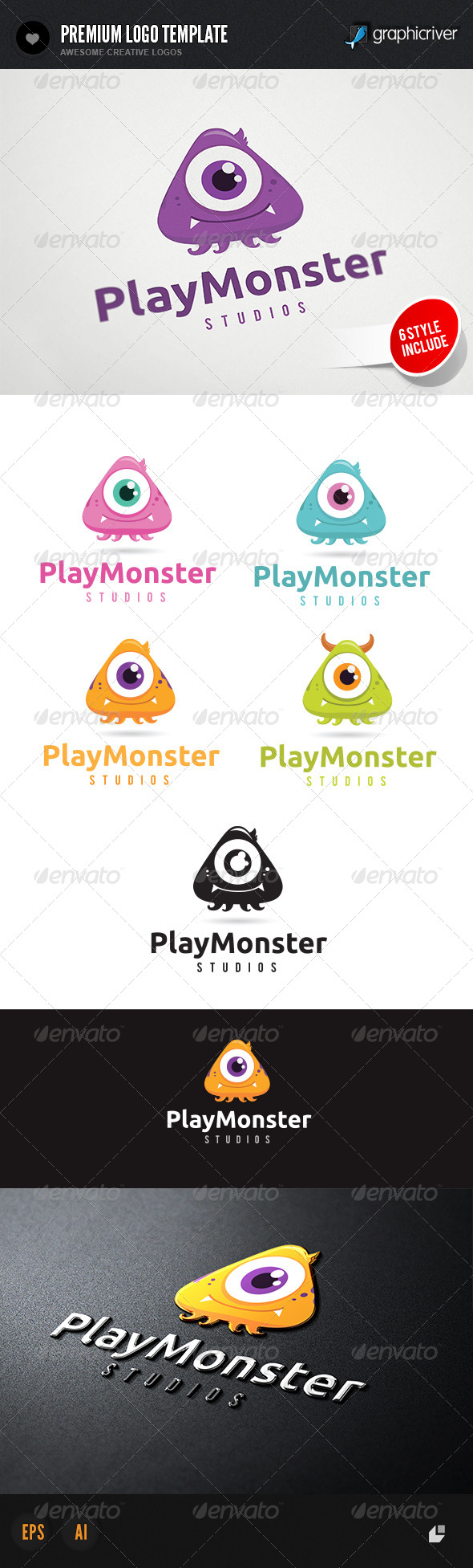 GraphicRiver Play Monster Logo 4541781