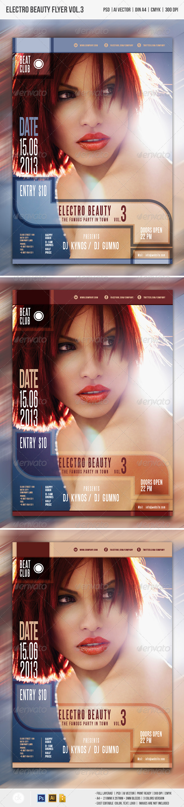 GraphicRiver Electro Beauty Flyer Vol.3 4458375