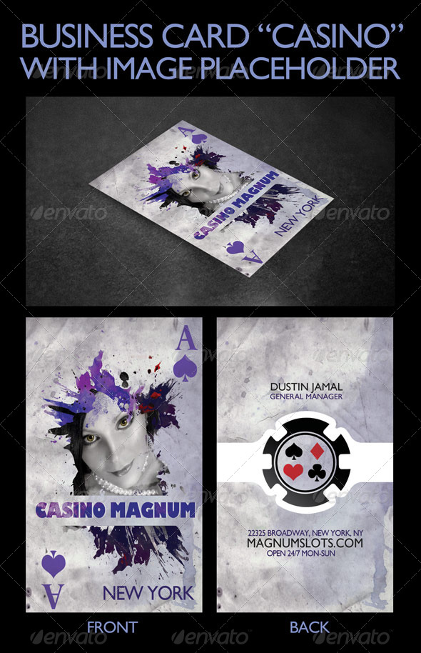 "Business Card Template ""Casino"" - Business Cards Print Templates"