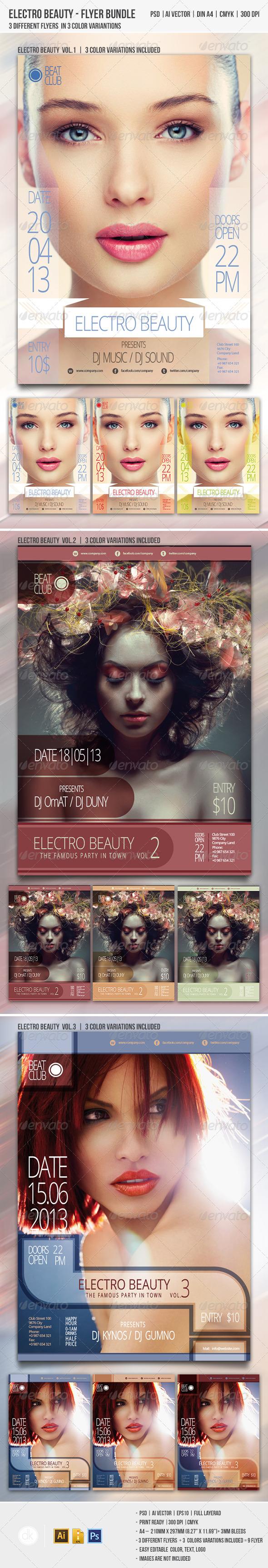 GraphicRiver Electro Beauty Flyer Bundle 4459563