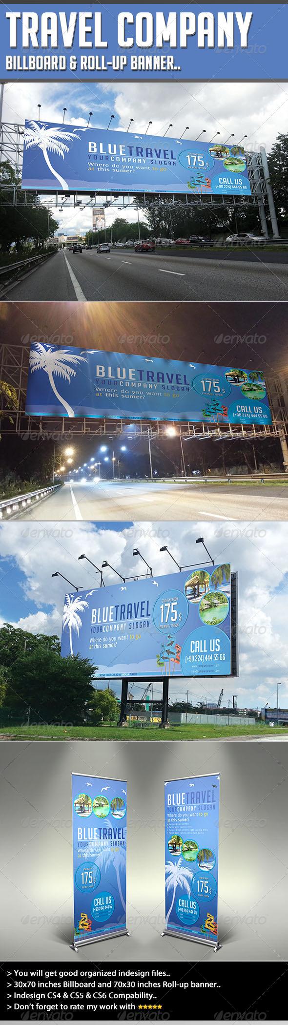 GraphicRiver Travel Company Billboard & Rollup Template 4465166