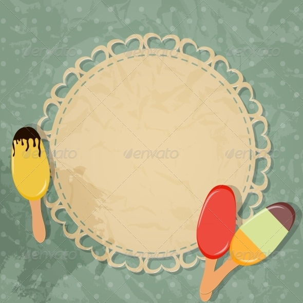 Gift Card with Ice Cream Design Elements