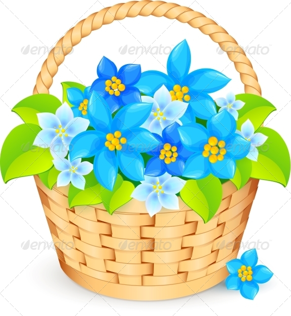 Vector Basket of Blue Flowers