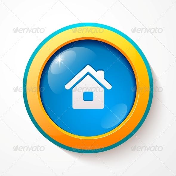 GraphicRiver Blue Glass Vector Home Button 4542867
