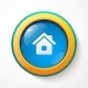Blue Glass Vector Home Button