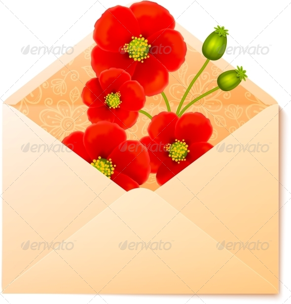 GraphicRiver Vecot Envelope with Red Flowers Inside 4542945