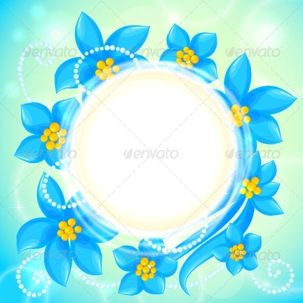 Vector Circle of Blue Flowers Greeting Card
