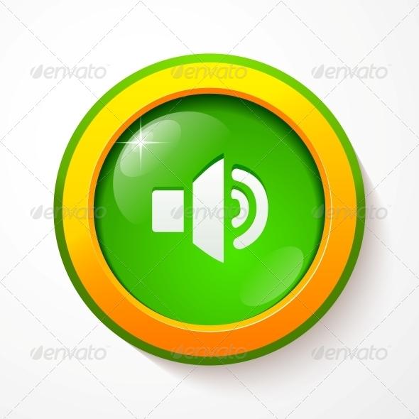 GraphicRiver Green Glass Vector Sound Button 4542958