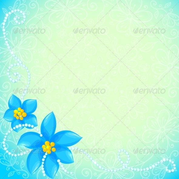 GraphicRiver Vector Circle of Blue Flowers Greeting Card 4542963