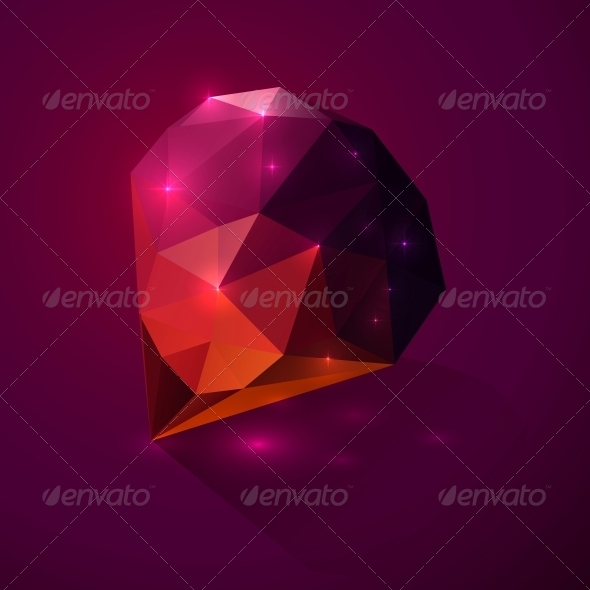 GraphicRiver Shining Dark Pink Vector Crystal 4542976