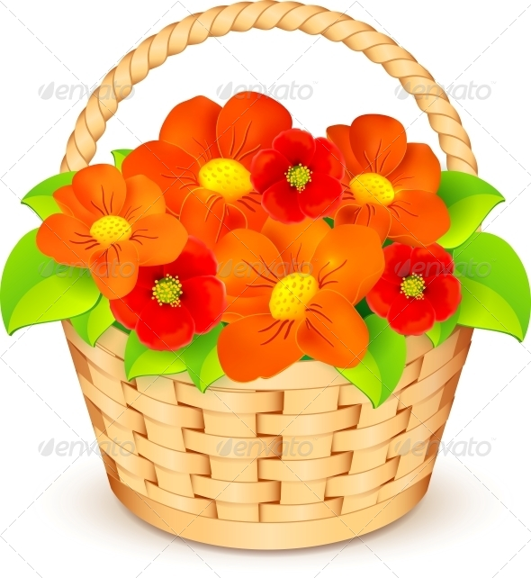 GraphicRiver Vector Basket with Flowers 4543139