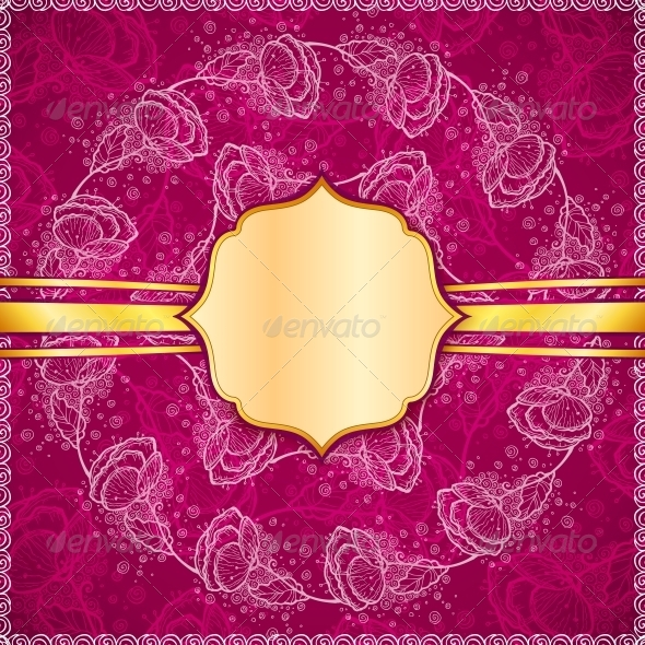 GraphicRiver Burgundy Vector Flowers Ornate Background 4543247