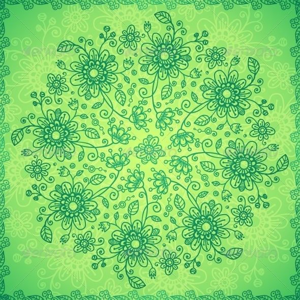GraphicRiver Green Doodle Flowers Vector Background 4543250