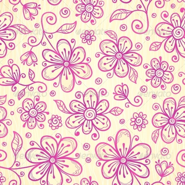 GraphicRiver Ornate Vector Doodle Flowers Background 4543266