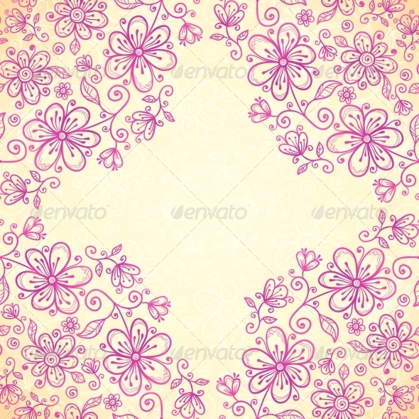 GraphicRiver Pink Doodle Vintage Flowers Vector Background 4543271
