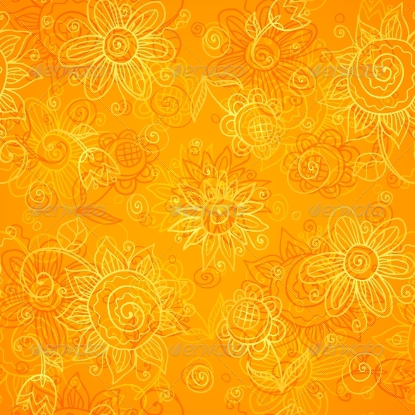 GraphicRiver Orange Floral Bright Vector Seamless Pattern 4543281