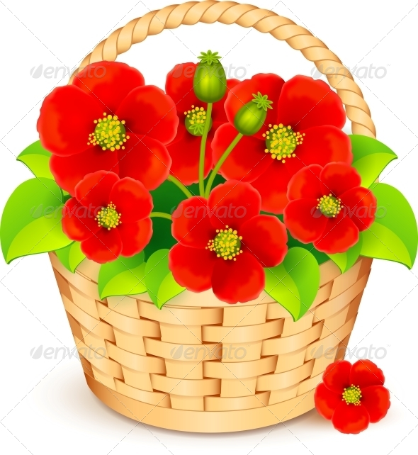 Vector Basket with Red Flowers