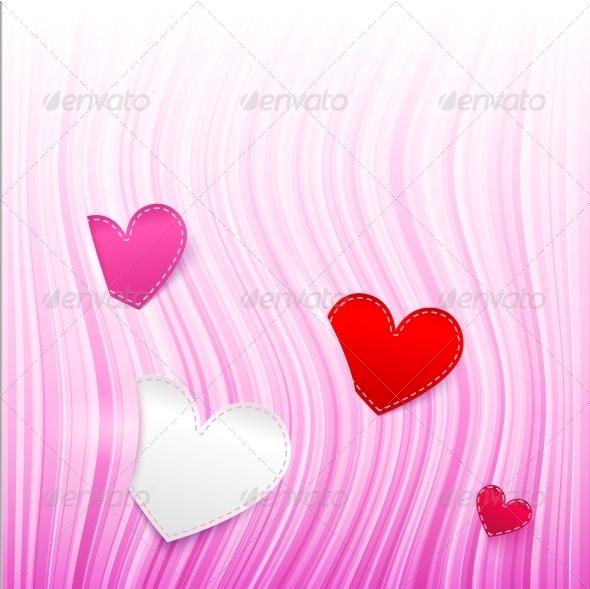 GraphicRiver Vector Pink Wavy Valentine s Day Background 4543424