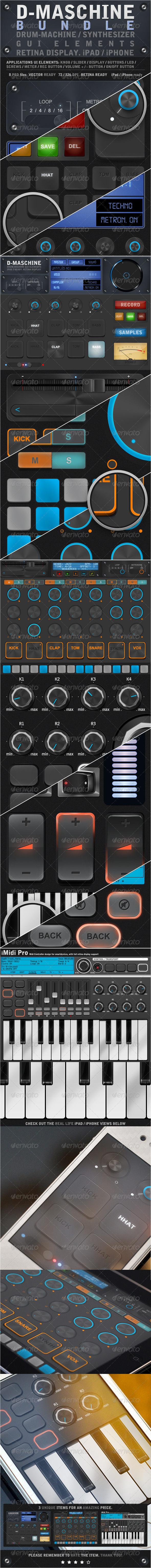 D-Maschine iPad / iPhone UI Elements Bundle - User Interfaces Web Elements