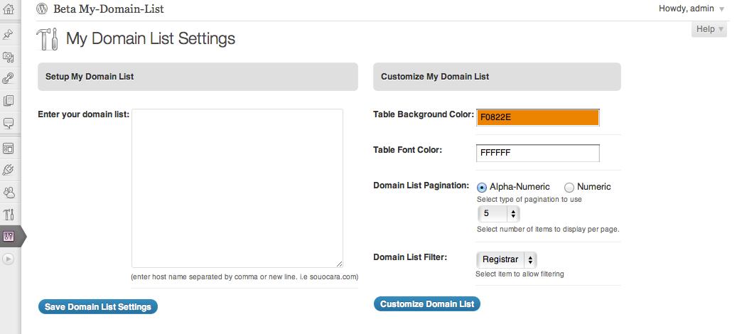 My Domain List Plugin