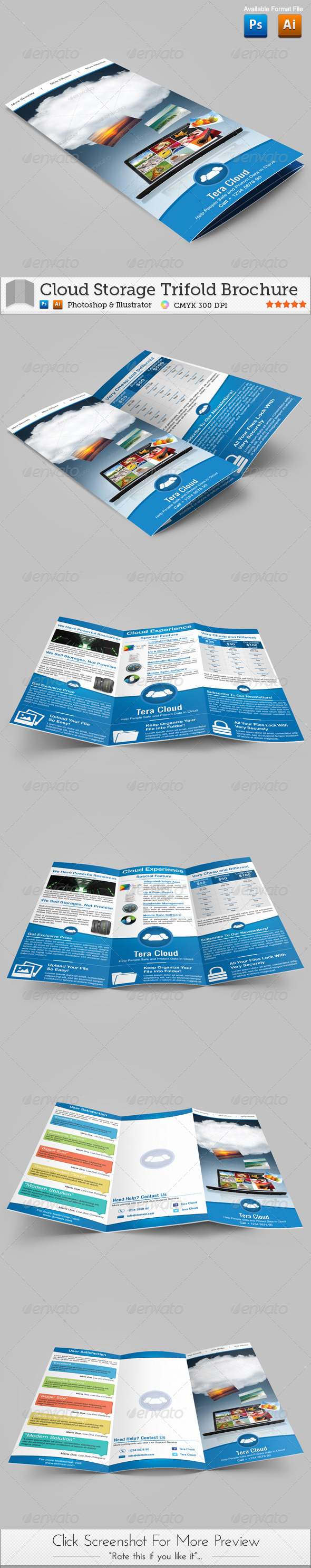 GraphicRiver Cloud Storage Trifold Brochure 4465635