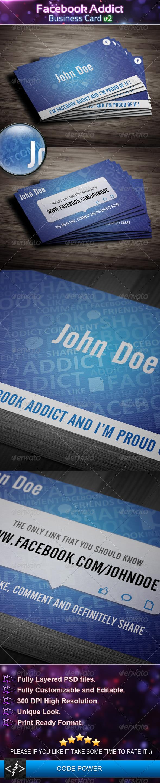 GraphicRiver Facebook Addict Business Card v2 4324255