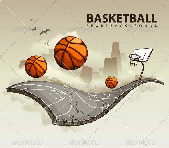 GraphicRiver Vector illustration of surreal basketball court 478567
