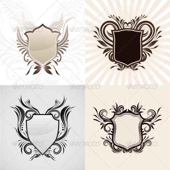 GraphicRiver Shield Decorative Ornament Set 4545033