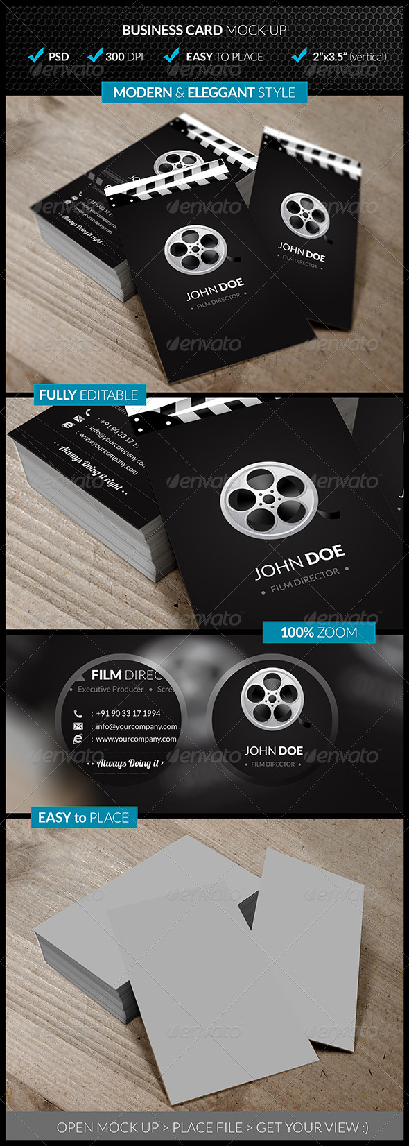 GraphicRiver Verticle Business Card Mock-Up 4545040