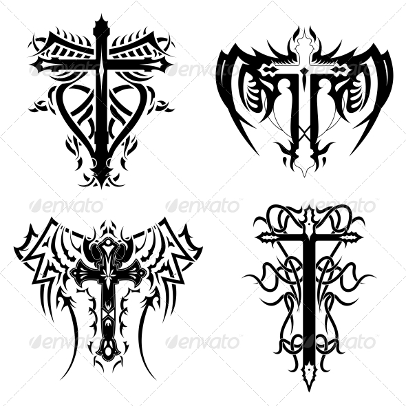 GraphicRiver Christian Religious Symbol Tribal Cross Pack 4545057