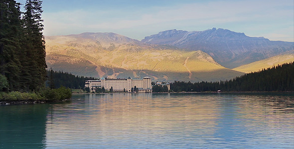 Sun On Mountains And Lakeside Hotel