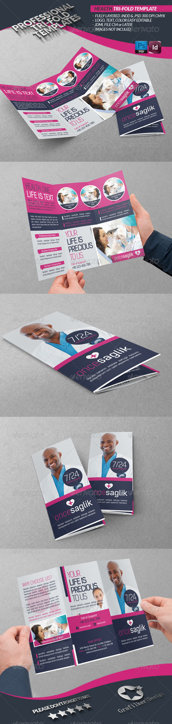 Health Tri-fold Template - Brochures Print Templates