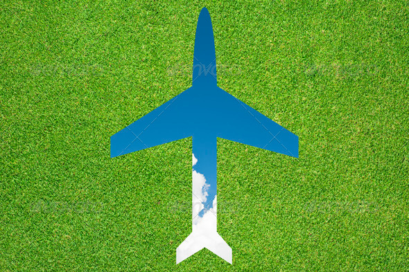 Plane icon with grass and sky - Stock Photo - Images