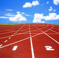 Running track with lanes over sky and clouds - PhotoDune Item for Sale