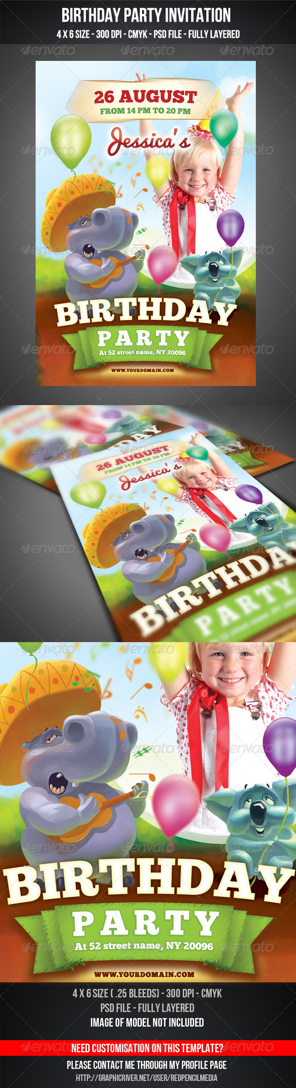 GraphicRiver Birthday Party Invitation Flyer 4547167