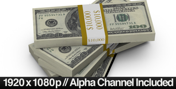$100 Bills Fall into a Stack & ALPHA Channel