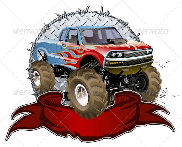 Vector cartoon monster truck one click repaint available hi res jpg