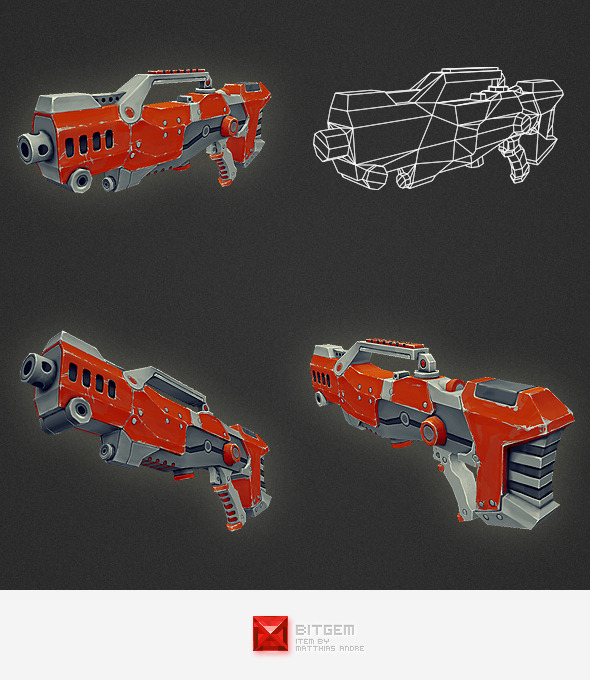 Low Poly Gun 04 - 3DOcean Item for Sale