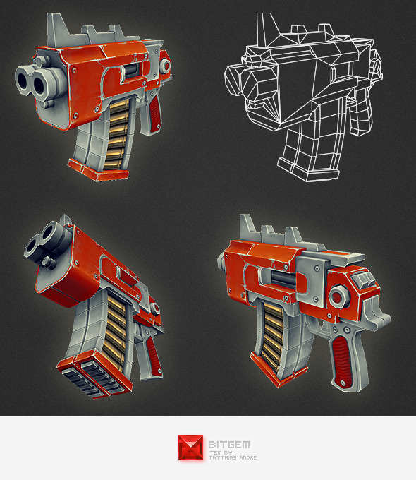 Low Poly Gun 05 - 3DOcean Item for Sale