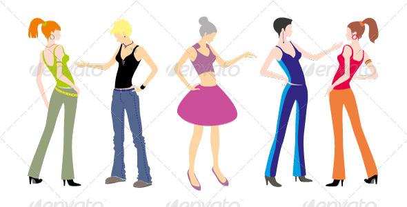 GraphicRiver 5 Young Girls Standing Characters 4548515