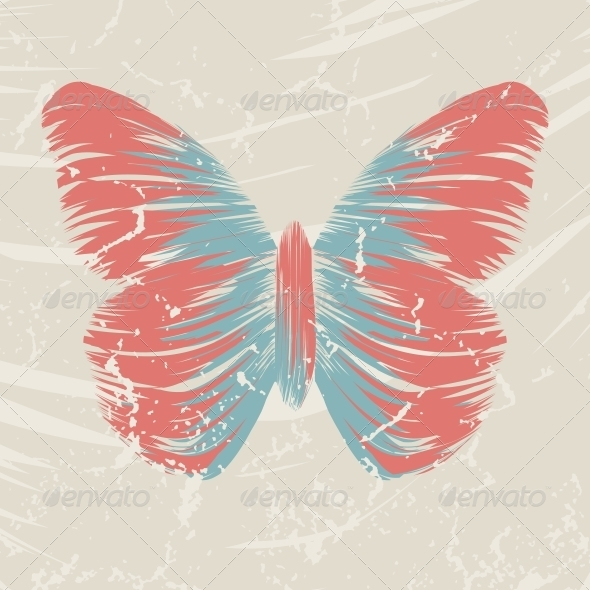 GraphicRiver Retro Butterfly on Old Background 4548576