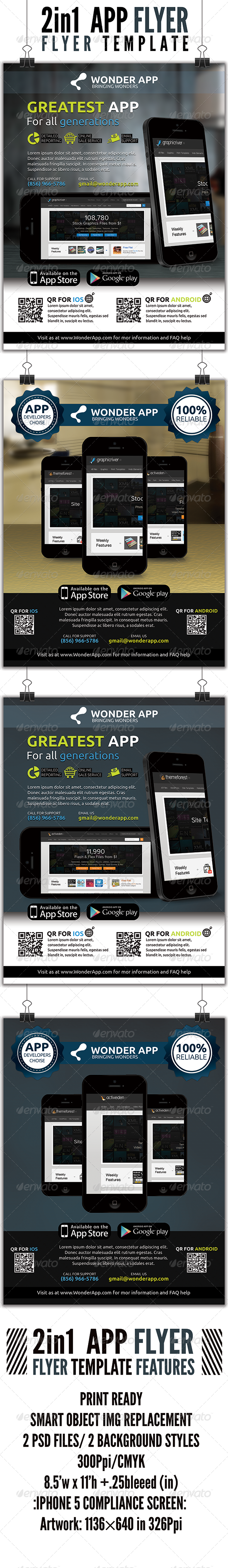 GraphicRiver 2 in 1 APP Flyer 4548713